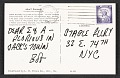 View Postcard from Robert Indiana to Eleanor Ward and Alan Groh at the Stable Gallery digital asset: verso