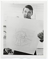 View Richard Diebenkorn holding one of his lithographs digital asset number 0