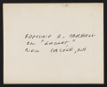 View Photograph of Edmund A. Tarbell on Eaglet, his horse, in New Castle, New Hampshire digital asset: verso