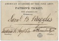 View Ticket to the American Academy of the Fine Arts digital asset: front