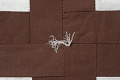 View Square Block Quilt with Tassels (Brown & White) digital asset number 3