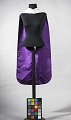 View [Academic regalia hood, black satin with white trim, purple lining] digital asset number 2