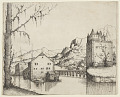 View River Landscape with Two Buildings Connected by a Bridge digital asset number 0
