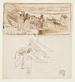 View Two Studies of Women Standing behind Railing, Looking at the Launching of Dories, Cullercoats, England digital asset number 0