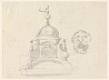 View Elevation of a Dome, Design for a Mask, and Caricature digital asset number 0