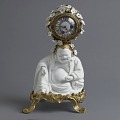 """View Mantle Clock Supported by a Hotei (""""Laughing Buddha"""") digital asset number 1"""