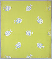 View White and Blue Fish on Chartreuse Ground, Wallpaper Design digital asset number 1