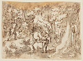 View Sketchbook Page: Stag Hunt in Persia (recto); Stag Hunt by Luigi Alamanni (verso), designs for the Venationes series digital asset number 0