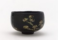 View Kenzan-style Black Raku tea bowl with design of pines digital asset number 0