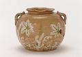 View Kenzan-style Red Raku water jar with design of maple leaves and gabions digital asset number 0