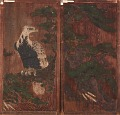 View Pair of doors with eagle on a pinetree on one side; deer and cherry-blossoms on the other digital asset number 0