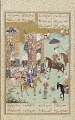 View Folio from a <em>Khamsa</em> (Quintet) by Nizami (d. 1209); recto: illuminated text: The story of Nushirwan and his vizier; verso: Nushirwan listens to the owls digital asset number 0