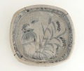 View Mino ware Shino style serving dish with design of crows on hut in field digital asset number 0