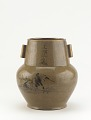 View Karatsu ware vase with landscape and false Ming period mark digital asset number 0