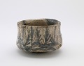 View Mino ware tea bowl with design of gate and seedling pines digital asset number 0