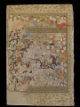 View Folio from a Rawdat al-safa (Garden of felicity) by Mirkhwand (d. 1498); recto: The Battle against the Byzantines for Aleppo; verso: text: Muslim army in Damascus, Ilea, and Jordan digital asset number 0
