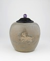 View Jar with design of deer holding lingzhi fungus digital asset number 0