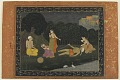View Folio from an album; recto: Scene from the Story of Gur and Gobind; verso: calligraphy digital asset number 0