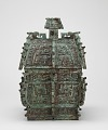 View Square lidded ritual wine container (<em>fangyi</em>) with taotie, serpents, and birds digital asset number 0
