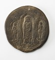 View Circular plaque with Buddhist trinity on obverse and brief inscription on reverse digital asset number 0