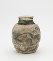 View Tea-leaf jar for sencha, with matching lid, Kyoto-related ware digital asset number 0