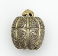 View Lidded box in the form of a melon with grapevines and knob in the shape of a rodent digital asset number 0