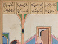 View Folio from a <em>Khamsa</em> (Quintet) by Nizami (d.1209); recto: text; verso: illustration: Caliph al-Ma'mun and the barber digital asset number 1