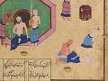 View Folio from a <em>Khamsa</em> (Quintet) by Nizami (d.1209); recto: text; verso: illustration: Caliph al-Ma'mun and the barber digital asset number 6