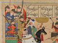View Folio from a <em>Khamsa</em> (Quintet) by Nizami (d.1209); recto: illustration: A battle between the forces of Khusraw and Bahram Chubina; verso: text digital asset number 1