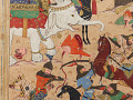 View Folio from a <em>Khamsa</em> (Quintet) by Nizami (d.1209); recto: illustration: A battle between the forces of Khusraw and Bahram Chubina; verso: text digital asset number 3