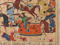 View Folio from a <em>Khamsa</em> (Quintet) by Nizami (d.1209); recto: illustration: A battle between the forces of Khusraw and Bahram Chubina; verso: text digital asset number 6