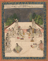 View Two women seated on a terrace, surrounded by attendants and musicians digital asset number 1