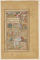 View Detached folio from a Baburnama; recto:The Emperor Babur and his men pitching camp, folio from a Baburnama; verso: text digital asset number 0