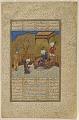 View Folio from a <i>Khamsa</i> (Quintet) by Amir Khusraw Dihlavi; verso: Amir Khusraw presents a book of poetry to Ala'uddin Khalji; recto: text digital asset number 0