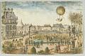 View The 2nd Aerial Journey (Hydrogen Balloon) Charles et Robert Ju. 1, 1783. Vue prise de la terrasse des Feuillants. digital asset number 0