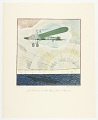 View Louis Blériot passes the White Cliffs of Dover in May, 1909. Flights. Unforgettable Exploits of the Air. Drawings by Frank Lemon. Published privately by the Wright Aeronautical Corporation for Christmas 1928. No. 35. digital asset number 0
