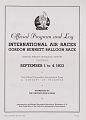 View 1933 International Air Races (Chicago), Gordon Bennett Balloon Race, Official Program digital asset number 2