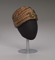 View Rust satin and black lace turban from Mae's Millinery Shop digital asset number 8