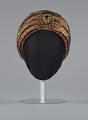 View Rust satin and black lace turban from Mae's Millinery Shop digital asset number 1