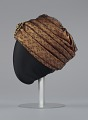 View Rust satin and black lace turban from Mae's Millinery Shop digital asset number 2