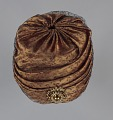 View Rust satin and black lace turban from Mae's Millinery Shop digital asset number 6