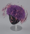 View Purple tulle cap with pink and purple feathers from Mae's Millinery Shop digital asset number 0