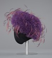 View Purple tulle cap with pink and purple feathers from Mae's Millinery Shop digital asset number 2