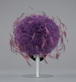 View Purple tulle cap with pink and purple feathers from Mae's Millinery Shop digital asset number 3