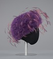 View Purple tulle cap with pink and purple feathers from Mae's Millinery Shop digital asset number 4