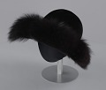 View Black felt hat with faux fur trim from Mae's Millinery Shop digital asset number 0