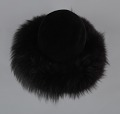 View Black felt hat with faux fur trim from Mae's Millinery Shop digital asset number 6