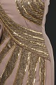 View Brown crepe dress with metallic embellishments designed by Peter Davy. digital asset number 3