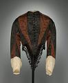 View Woman's day ensemble in brown and black silk moiré taffeta digital asset number 0