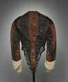 View Woman's day ensemble in brown and black silk moiré taffeta digital asset number 3